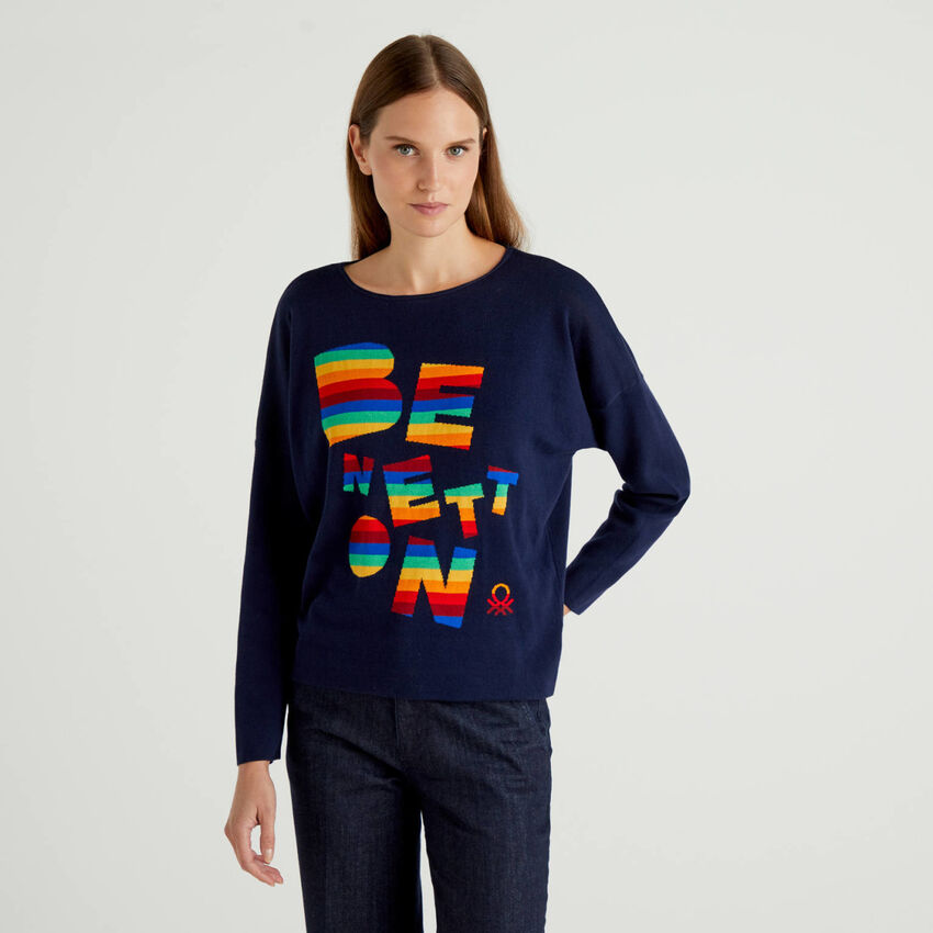 Sweater in 100% cotton with multicolor logo