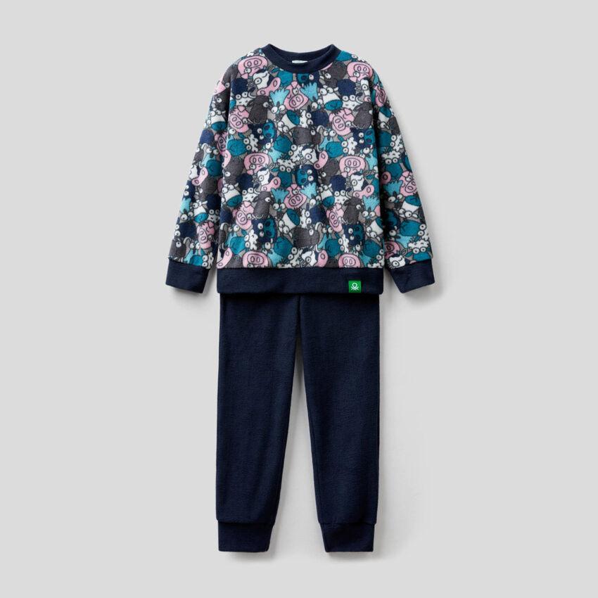 Fleece pyjamas with printed top