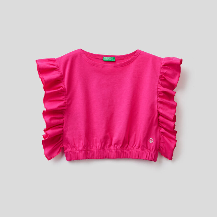 Top in pure cotton with rouches